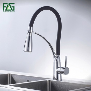 FLG Kitchen Faucet Pull Out Chrome Cast Orange Color 360 Degree Rotating Cold And Hot LED Kitchen Taps Griferia Cocina 193-33BC