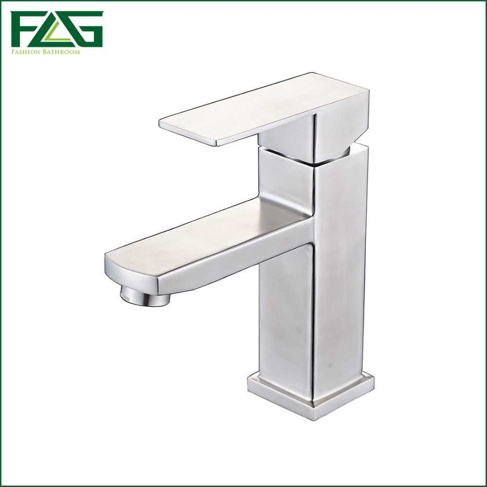 ФОТО FLG Contemporary Basin Faucet Cold & Hot Deck Mounted 304 Stainless Steel Basin Faucet Griferia Bano Vessel Sink Faucets SS013