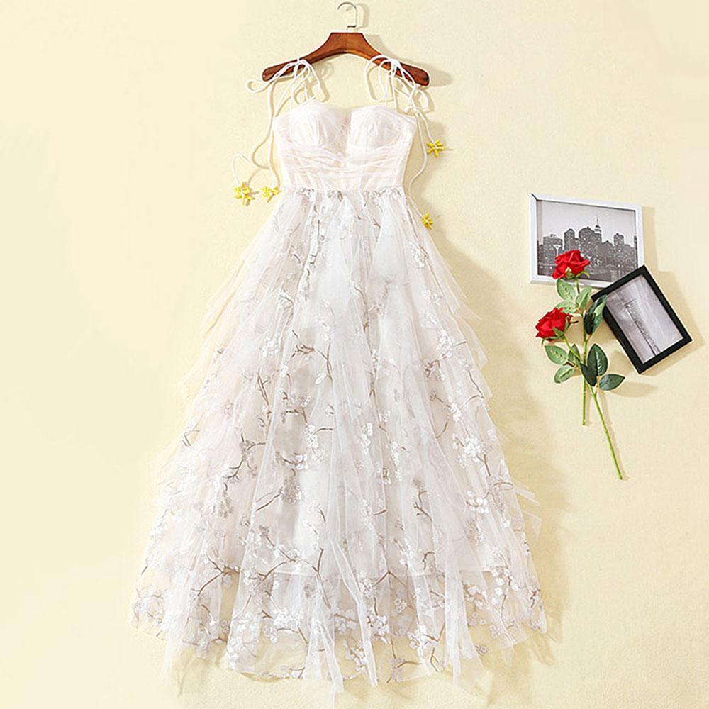 a528441765 De Robes Designer Blanc Roosarosee Floral Piste Fête D'été 2019 Robe  Bretelles Rouge Fluide Femme Sexy Broderie 6qx7Rw6