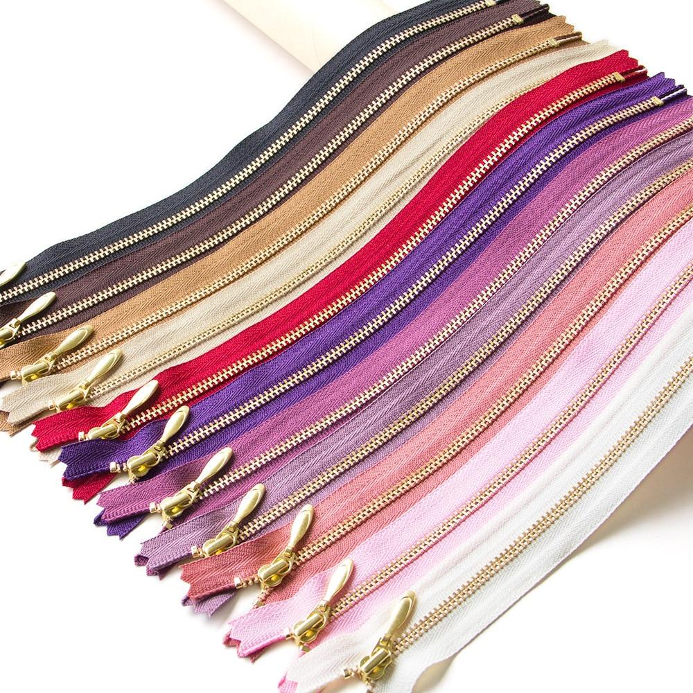1pcs YKK 3# Gold Tooth  Metal Zipper Close-end Auto Lock DIY  For Bag Purse Dress Footwear Patchwork  Accessories