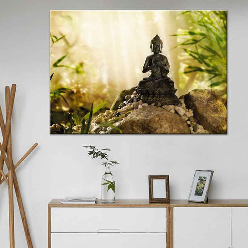Framed Home Decor Canvas Print Painting Wall Art Buddha: Buddha Canvas Print Painting Zen Meditation Wall Art