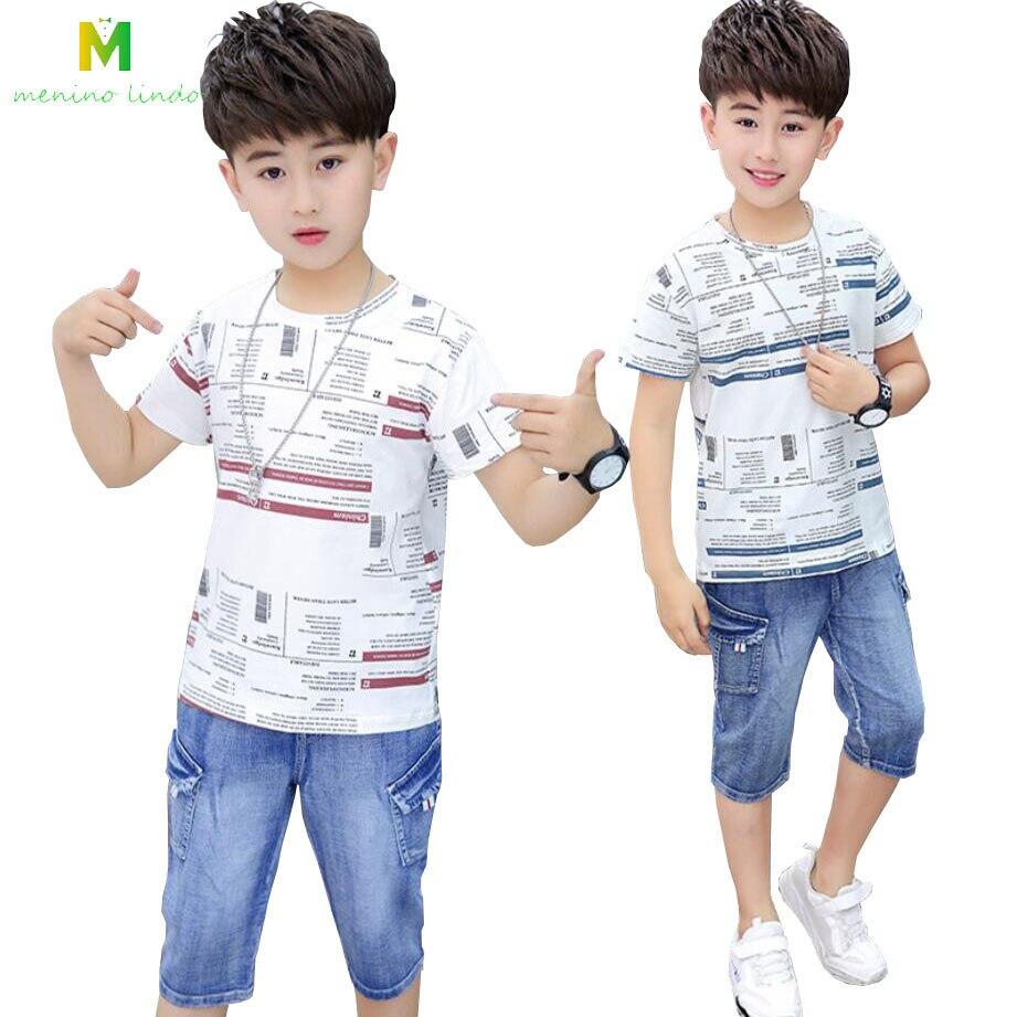 Toddler Baby Kids Boys Summer Cotton ShortSet Jeans Shirt 2PCS Clothing Set