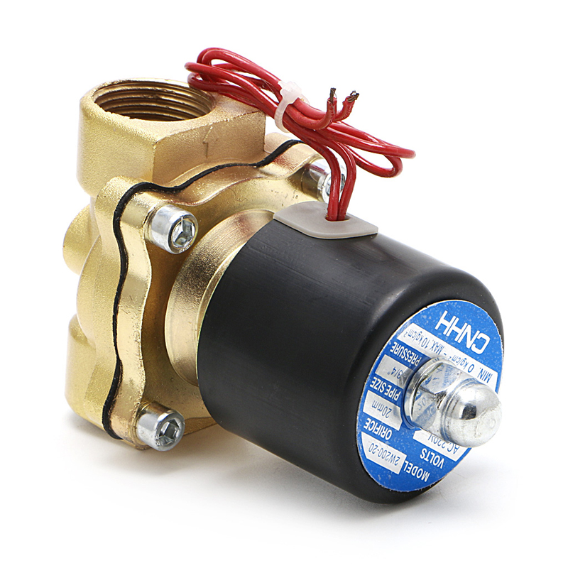 3/4 220V Electric Solenoid Valve Pneumatic 2 Port Water Oil Air Gas 2W-200-20 pneumatic gas water oil valve solenoid coil ac 220v connector plug 3 din43650a inner hole diameter 16mm high 43mm