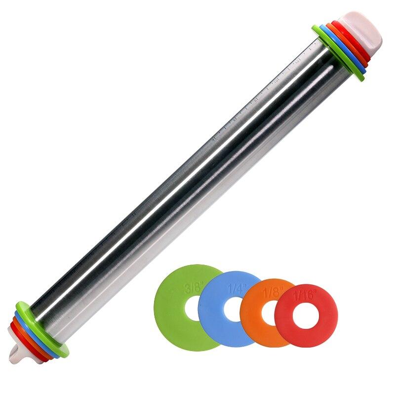 Professionelle Edelstahl Rolling Pin Für Backen-4 Einstellbare Discs-Französisch Stil-Nicht-Stick-Abnehmbare dicke Ringe