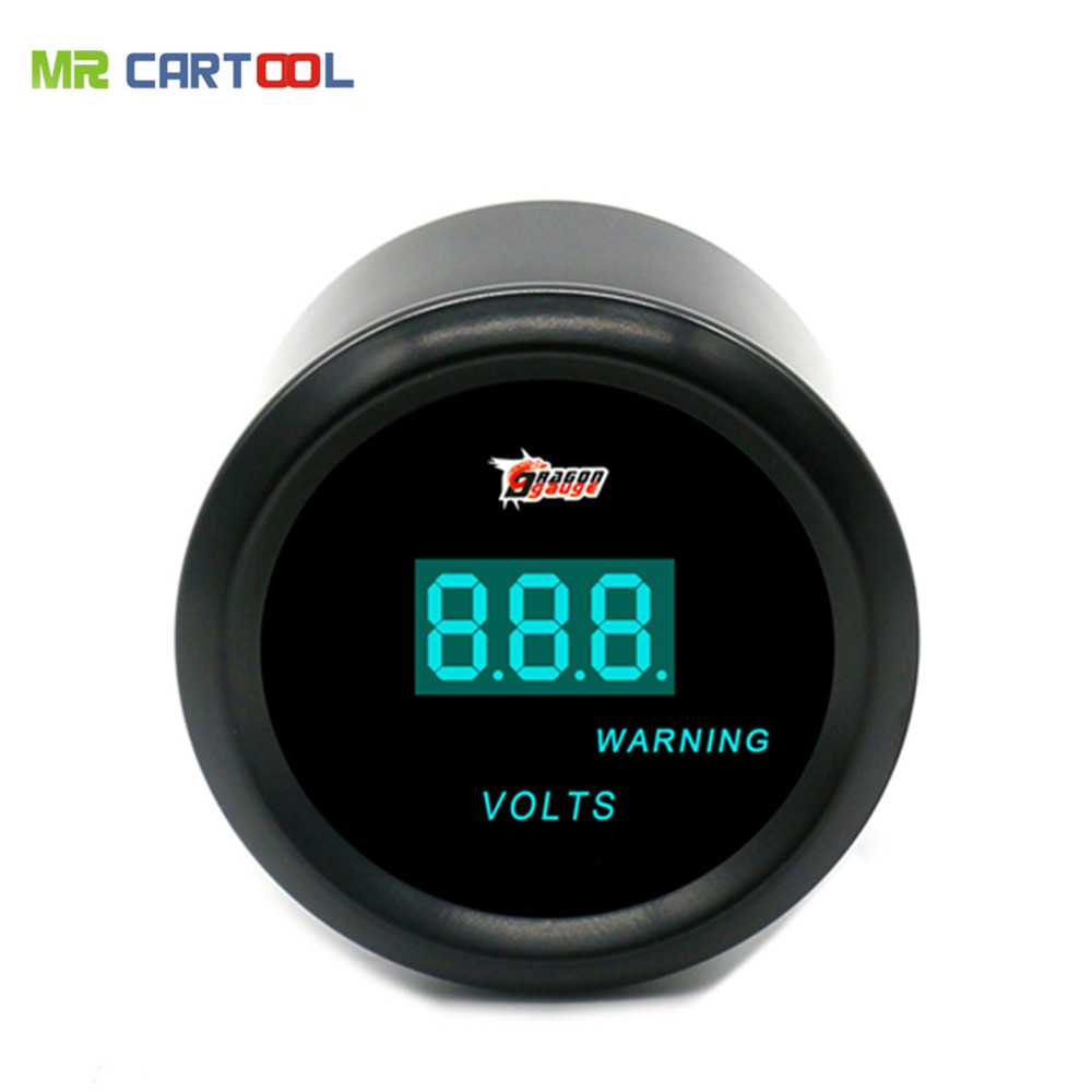 Universal 52mm Black Shell blue LED backLight auto Car motorcycle 12V voltage meter Volt ...