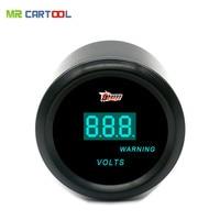 Universal 52mm Black Shell blue LED backLight auto Car motorcycle 12V voltage meter Volt gauge Measurement range 8-18V