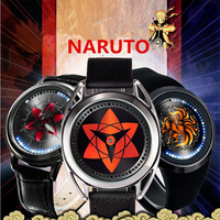 NARUTO Anime Uchiha Sasuke Sharingan Kakashi Cosplay Props Watch Kids Adult Touch Screen WristWatch Waterproof Metal Watches N