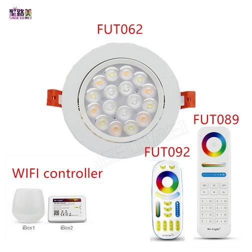 Mi Light 9W RGB+CCT LED Ceiling Spotlight AC86-265V Brightness Adjust 2.4G <font><b>FUT092</b></font> Remote/WiFi IBOX APP Control LED Downlight image