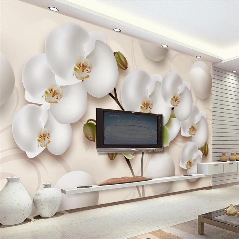 beibehang 3D Wall paper Mural Custom Living Room Bedroom 3d beautiful graceful phalaenopsis space mural TV background