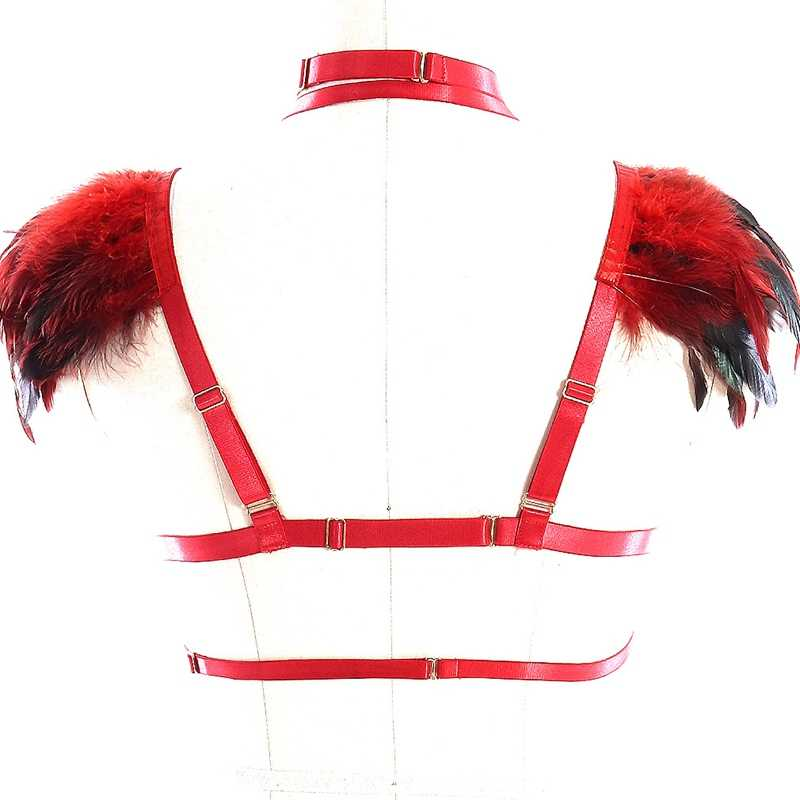 Red Feather Epaulettes Body Harness Bondage Cage Bra Underwear Sexy O-ring Punk Style Strappy Tops Feather Shoulder Angel Wings