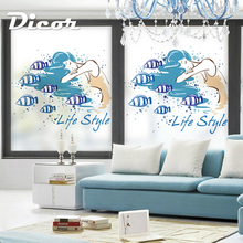 DICOR Art Stained Window Decorative Film Girl Fish Ocean Style Modern Fashion Glass Sticker BLT842KJ