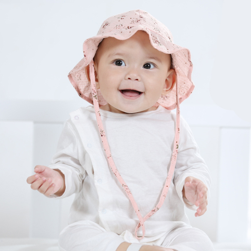 Breathable Summer Infant Baby Sun Hat Cotton Floral Baby ...