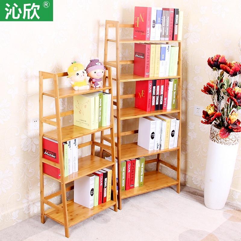 Cheap Bamboo Bookshelf Multilayer Wood Bookcase Student Children Shelf Simple