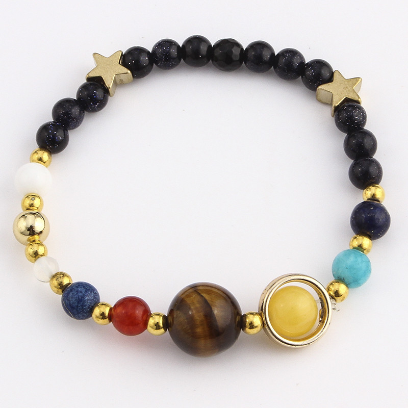 Hot Sell Universe Galaxy the Eight Planets in the Solar System Guardian Star Stone Beads Bracelet for Women Men Bangles