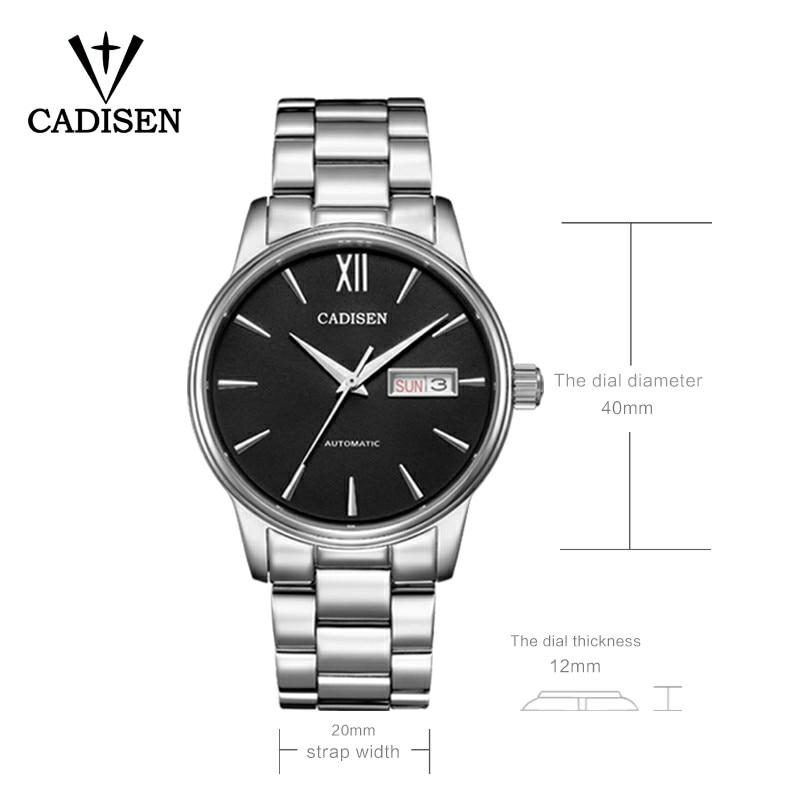CADISEN Watch Men NH36A Mechanical movement Set Automatic Self-wind Stainless Steel Sapphire 5ATM Waterproof Business Men Wrist
