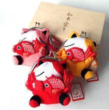 20 pieces Hot Sale Japan kimono Lucky Cat fish Coin Purse Wallet change keychain storage Bag