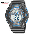 READ top  brand wrist Silicone men Sports Watches Military Electronics Dial Large Digital Alarm clock StopWatch black blue