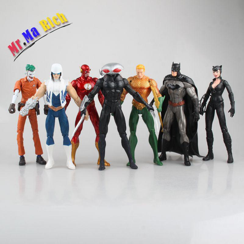 17-19 cm 7 pièces/ensemble Justice ligue Batman Catwoman Aquaman Batwing Flash Joker Action Figure jouets cadeau de noël jouet