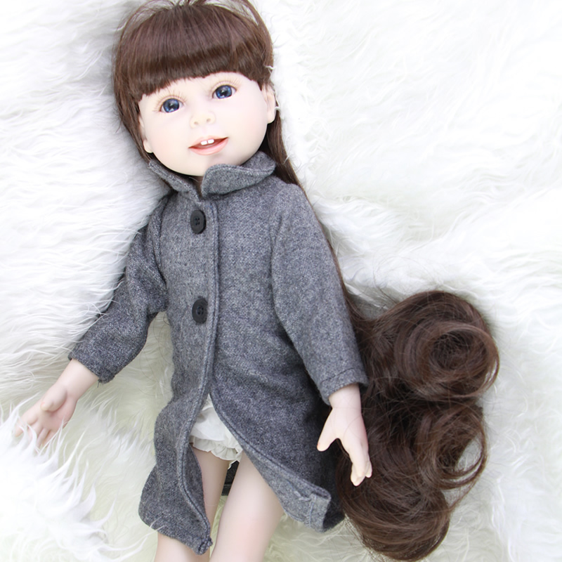 New Arrived Fashion American 18 Inch Girl Doll Handmade Realistic Princess Girls Doll Lifelike Baby Doll Cute Baby Toys For Girl new arrived handmade american 18 inch girl doll vinyl princess smiling girls looks so pretty baby doll toys for children