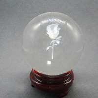 Compound Crystal Ball 3D Laser Engraved LOVE Rose Quartz Glass Ball Sphere Home Decoration Accessories Gifts