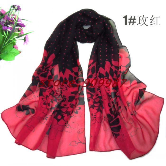 2013 printe polka dot with flower design hijab chiffon silk long shawls/scarves.160*50cm.10pcs/lot.