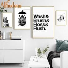 ФОТО almudena bathroom fun words nordic bathroom decorative toilet personality ideas canvas painting unframed wall art prints