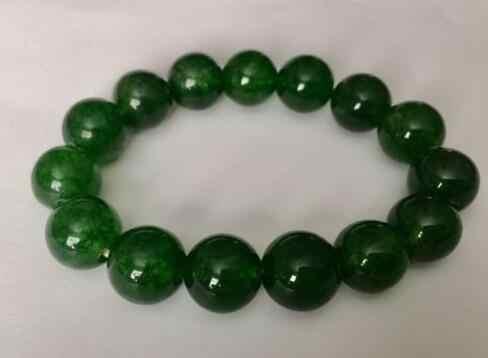12มิลลิเมตรลูกปัดสร้อยข้อมือสีเขียวเข้มjadeSหินผู้ขาย