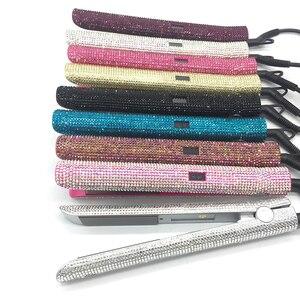 Image 5 - Plancha de pelo de titanio con pantalla LCD profesional, plancha de pelo de diamante placa flotante de cristal con diamantes de imitación, herramientas de estilismo para el cabello
