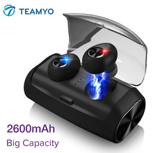 Get more info on the TEAMYO Bluetooth 5.0 Wireless True Earphone mini TWS Sport Earbuds 2600mAh charging case HIFI Stereo Bass Microphone headset