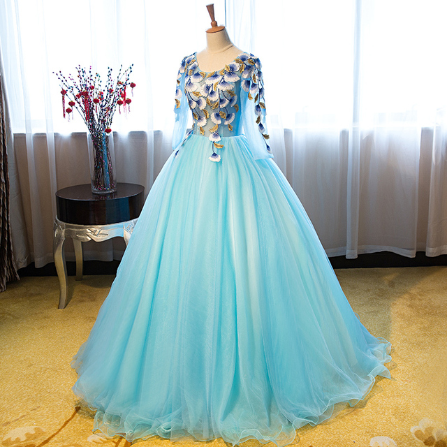 100%real luxury light blue flower leaf embroidery rhinestone beading ball  gown medieval Renaissance Gown Victorian Belle ball 6c6c4848e67f