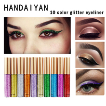 HANDAIYAN 10 Colors Glitter Eyeliner Liquid Shadows Eyeliners Shimmer Sparkly Gold Eye Liner Eyeshadow Makeup Cosmetics
