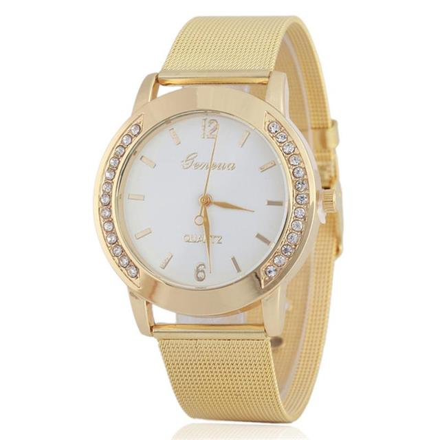 MINHIN Luxury Rhinestone Quartz Dress Watch Clock Women Casual Wrist Watch Gold
