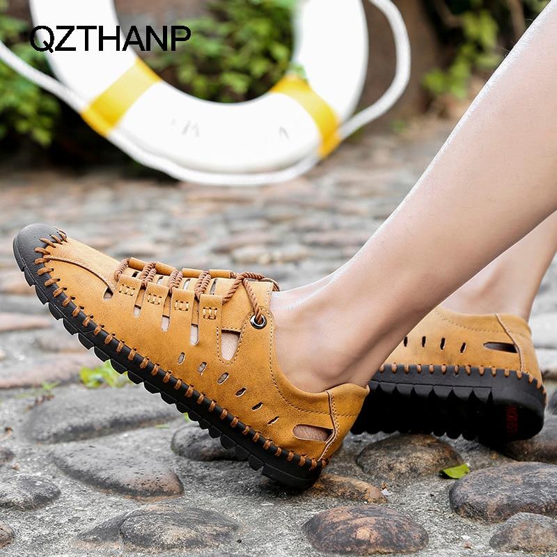 Image 4 - أحذية رجالي كاجوال من الجلد للصيف من Krasovki صنادل للرجال مزودة بنسيج شبكي يسمح بمرور الهواء أحذية رياضية للرجالأحذية رجالية عاديةأحذية -