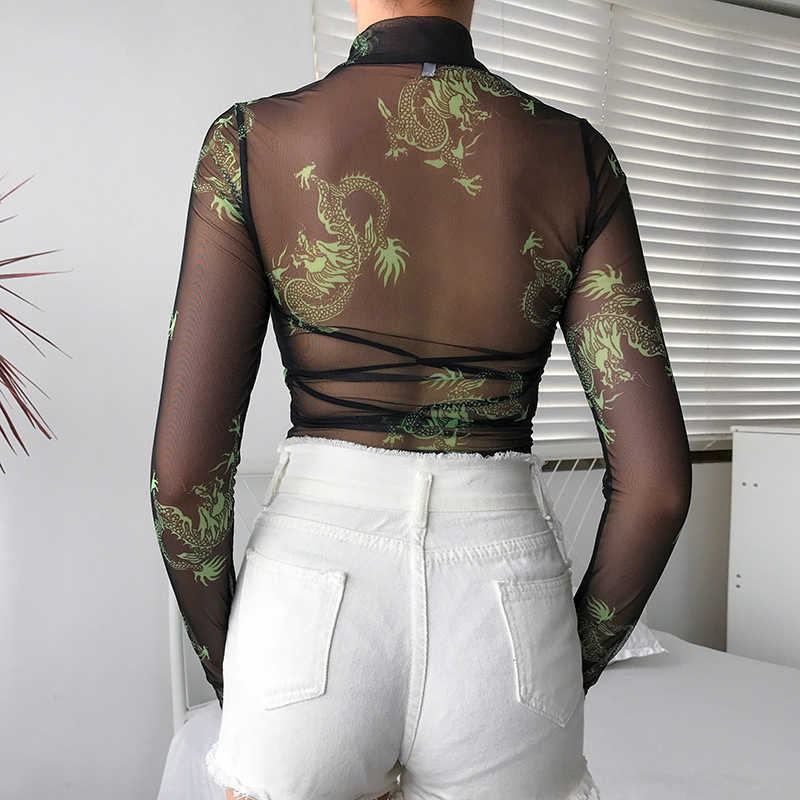 Rawpriter Sexy Transparent Mesh Dragon Bodysuit Women 2019 Summer Turtleneck Long Thumb Sleeve See Through Open Crotch Bodysuit