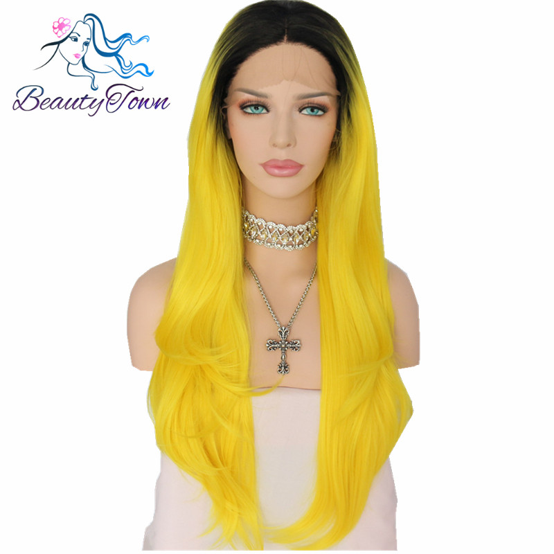 BeautyTown Black Ombre Yellow Heat Resistant Cosplay Perruque Masquera Party Synthetic Lace Front Wig for Women