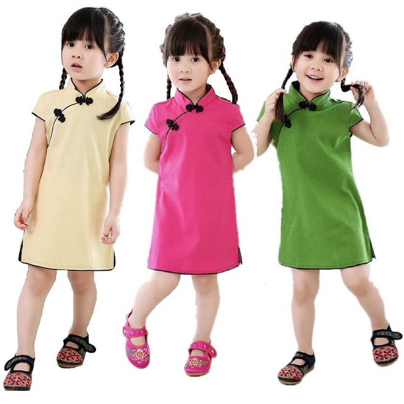 Chinese New Year Baby Girls Chi-Pao Dress Kids Traditional Qipao Candy Solid Children Cheongsam Linen Girl Clothes Jumper Blouse