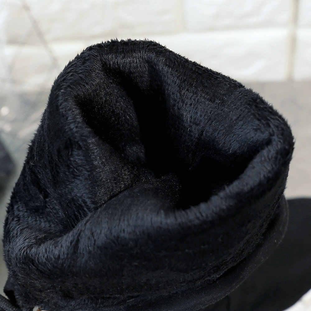 2018 Kış sıcak Kürk Diz Yüksek Çizmeler Kadınlar Faux Süet Düz Topuk Rahat Moda Platformu Çizmeler Kadın Ayakkabı Artı Boyutu 43