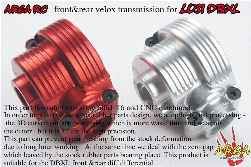 AREA RC front&rear velox transmission for LOSI DBXL billet rear hub carriers for losi 5ive t