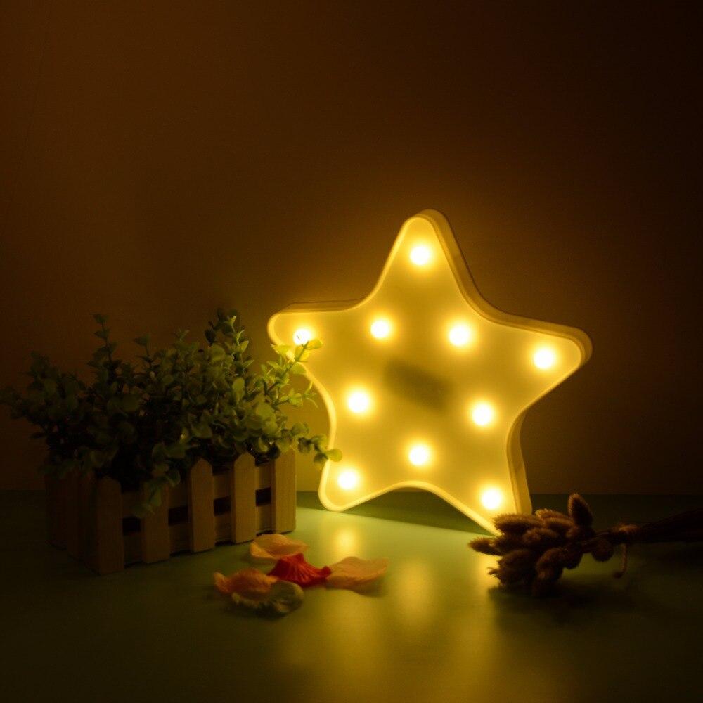 Star Pattern Led Night Light Festival Kids Bedroom Art Decor Lucky Xmas Party Decoration Lamp Luminaria Supplies Wholesale