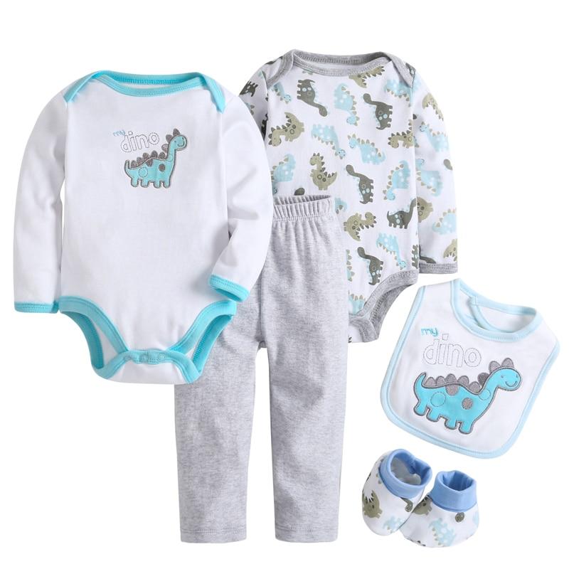 5 Pcs/set Baby Girl Clothes Bebe Bodysuit+Pant+Bib+Shoes 100% Cotton Baby Boy Clothes Newborn Bebe Clothing Sets CL022691083 1