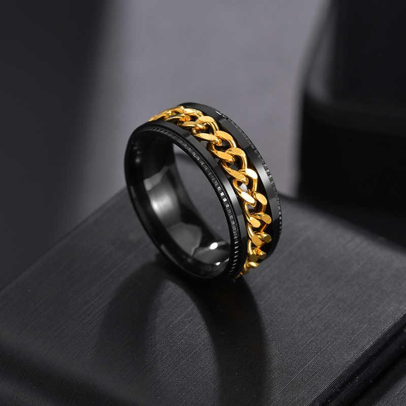 Auxauxme titânio aço inoxidável anel girador de corrente para homem azul ouro preto punk rock anéis acessórios jóias presente