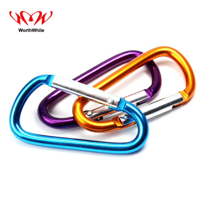WorthWhile 6 Pcs/lot  Aluminum D Shape Buckle Carabiner  Outdoor Camping Tent Accessories EDC Keychain Hook Clip Equipment