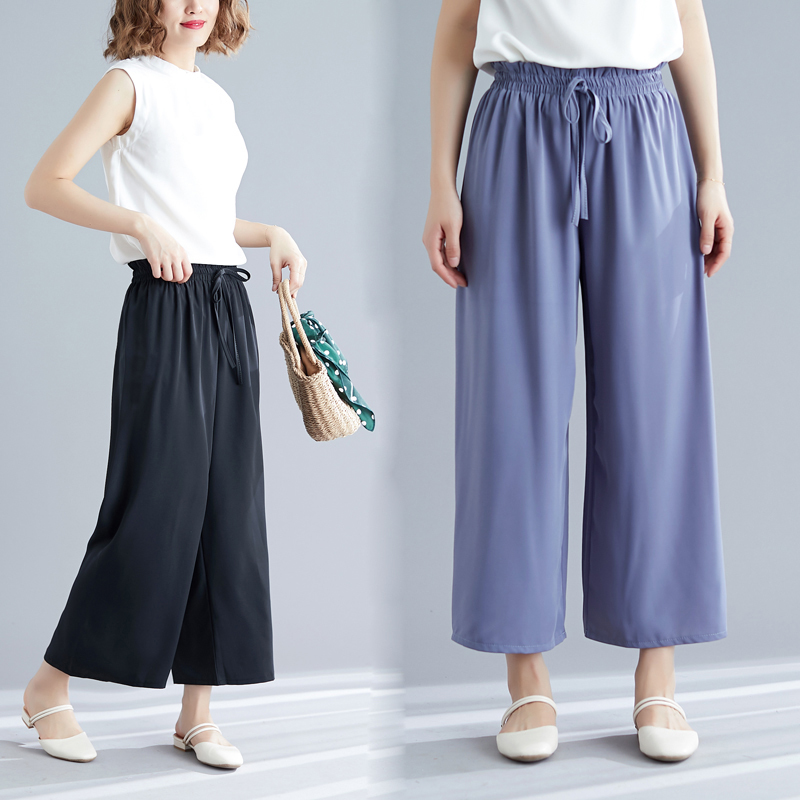#0637 Chic Casual Straight   Wide     Leg     Pants   Women Elastic Waist Summer   Pants   For Women Ankle-length Beach Ladies Trousers Loose