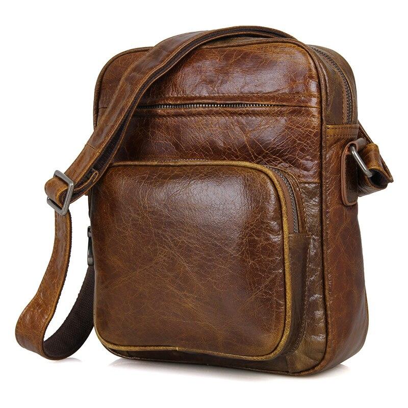 Travel Small Bags for Men Genuine Leather Brand Brown Vintage Crossbody Messenger Shoulder Bag Casual Ipad Mobile Designer Bag