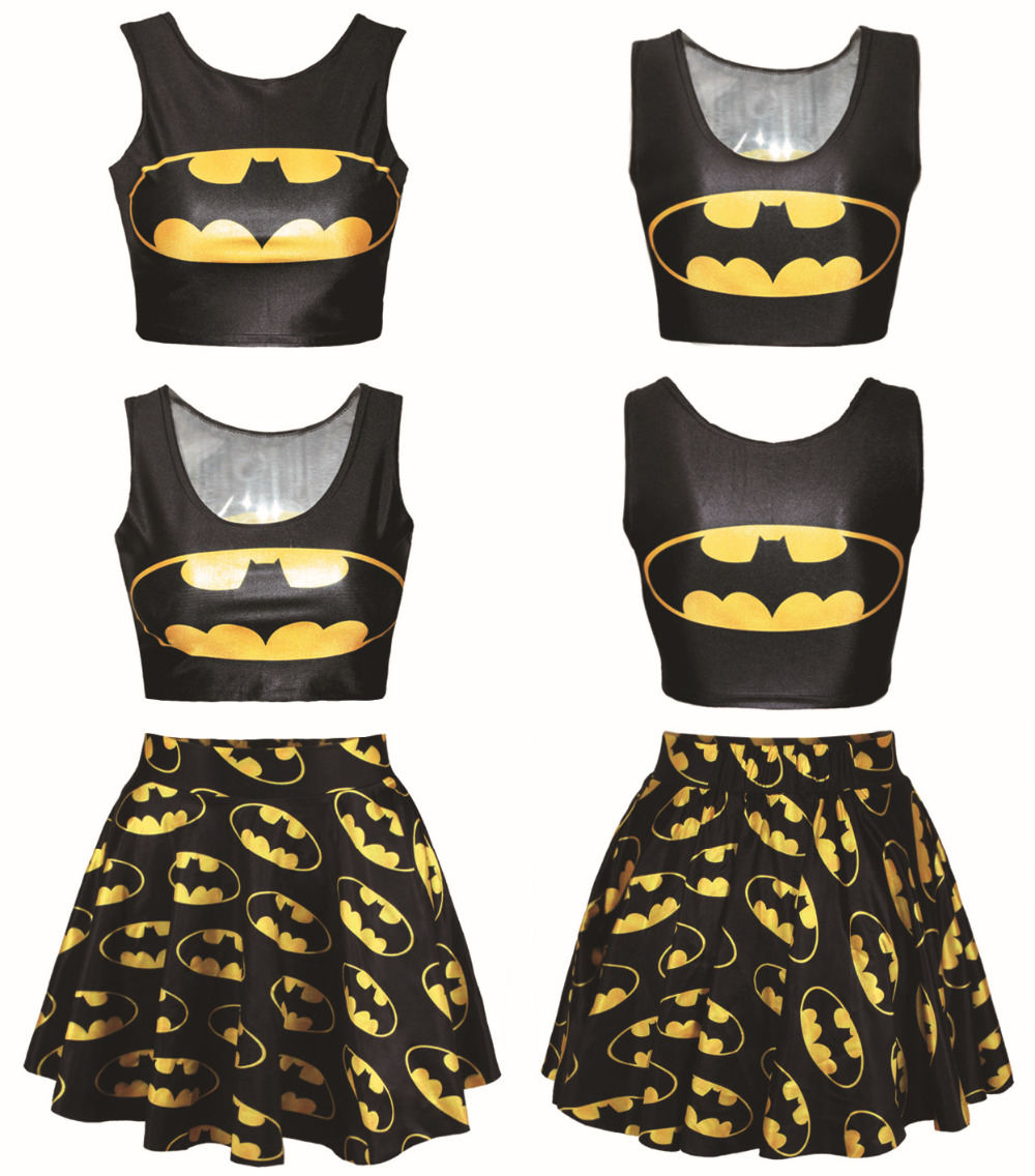 Crop Top Set 2017 New Cartoon Adventure Time Bat Man Printed Crops And Skirts 2 Pieces Women Sets Summer Style Clothes For Girls In Womens From