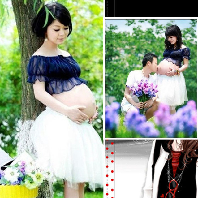 44262fab6ea Maternity Photography Props Lace Gown Dresses Bra Set Pregnancy Clothing  Cute Photo Chiffon Clothes For Pregnant