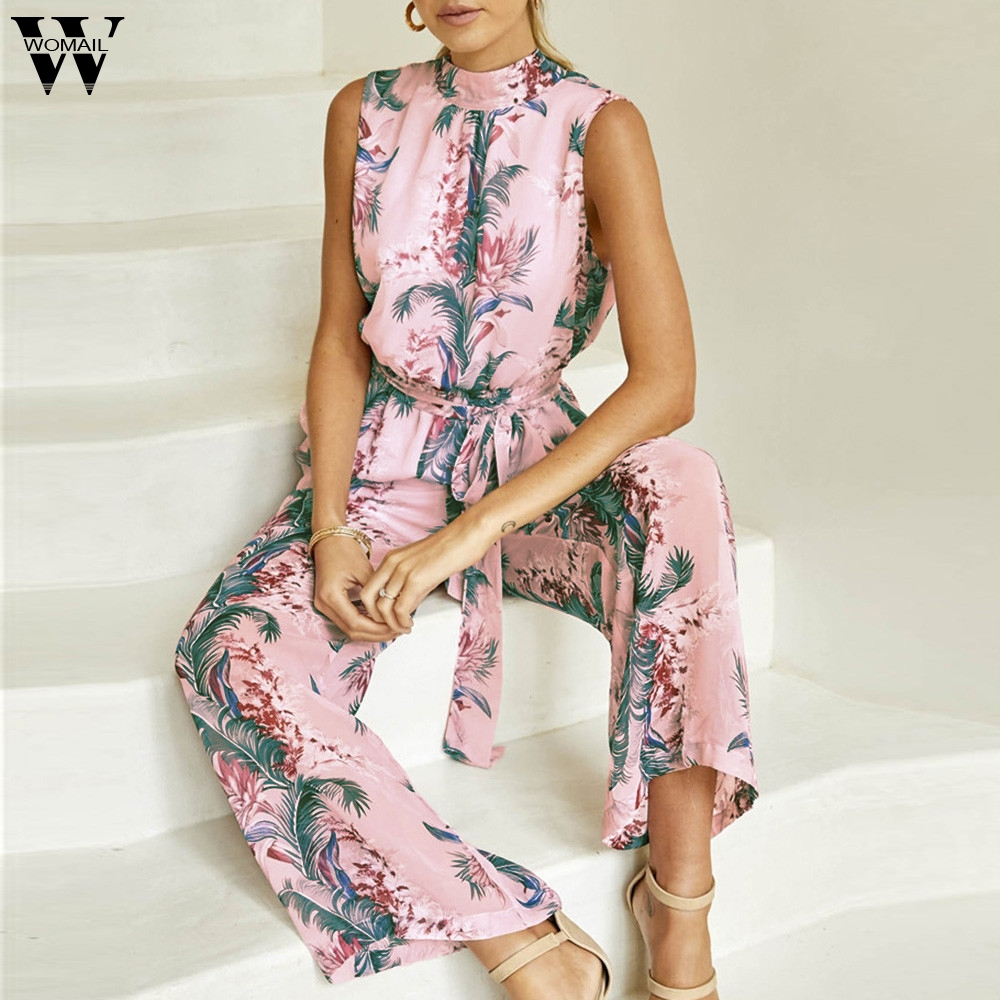 Womail Bodysuit Women Summer Fashion Chiffon Floral Printed Backless Bandage Wide Leg Sleeveless Playsuit Dropship M5