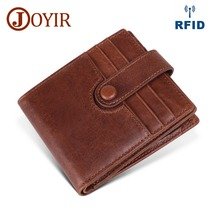 JOYIR New Genuine Leather Men Wallet Man Leather RFID Wallet Zipper Short Coin Purse Male Credit Card Multifunction Short Wallet
