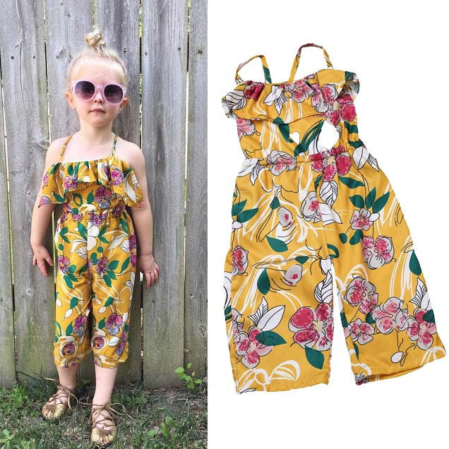 6f90a85fea6 2017 Summer Toddler Kids Girls Sleeveless Yellow Flower Romper Jumpsuit  Floral Clothes Playsuit-in Rompers from Mother   Kids on Aliexpress.com