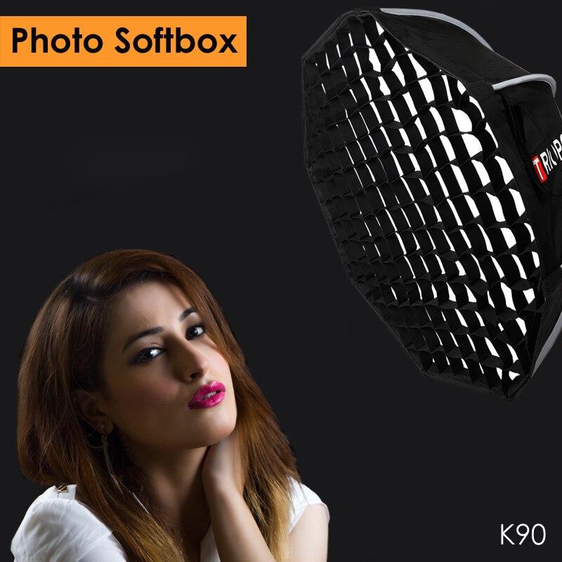 Triopo K90 90 cm Studio Softbox Portable w/Honeycomb Grid Bowens Mont Octogone Parapluie Soft Box pour Canon Nikon godox Jinbei